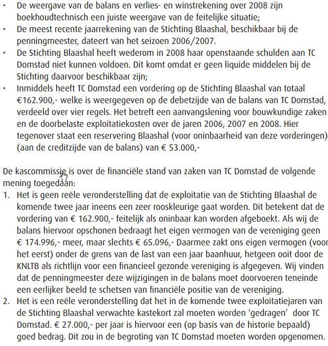 TC Domstad kascontrole